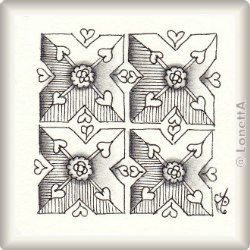 Zentangle-Pattern 'Persian Hearts' by Neil Burley, presented by www.musterquelle.de
