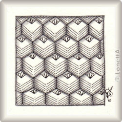 Zentangle-Pattern 'Bandola' by Sadelle Wiltshire CZT, presented by www.musterquelle.de