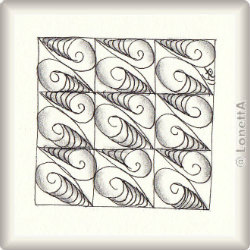 Zentangle-Pattern 'Croissant' by Yu Ru Chen, presented by www.musterquelle.de