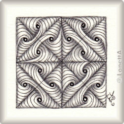 Muster In-N-Out Folded von Diana E. Marshall, ein Muster geeignet für Zentangle® and Zentangle® inspired art, präsentiert in der Musterquelle